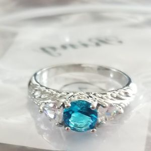 Blue and silver ring size 7